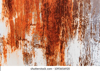 Metal Rust Background Metal Rust Texture. Beautiful unusual background. Rusted white painted metal wall. Rusty metal background with streaks of rust. Rust stains.