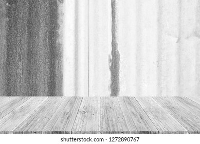 Metal rust or steel zinc wall texture abstract texture surface background use for background with wood table or terrace