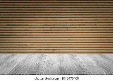 Metal rust wall texture background surface natural color with wood terrace