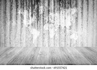 Metal rust wall texture background surface natural color , process in white color with wood terrace with world map