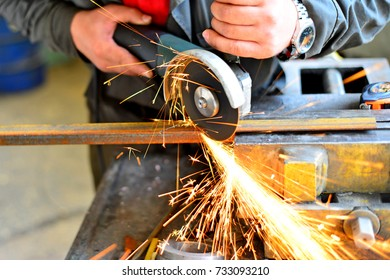 metal sawing close up, angled marking