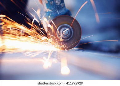 Metal sawing with sparkles close up