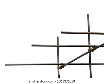 metal scaffolding on white background
