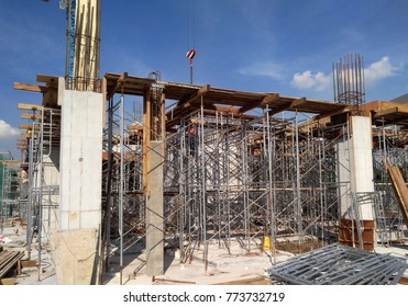 Metal scaffolding used as temporary structure to support slab timber form work at the construction site. Able to adjust to get required level.