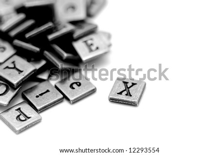 Metal Scrapbooking Letters Laying On White Stock Photo Edit Now