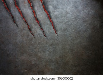 metal scratched by beast claws