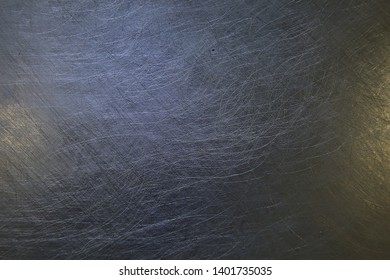 metal scratches blue background abstract / empty blank frame scratches on metal