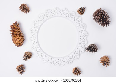 Metal Serving Tray with Pine Cones Flat Lay Top View