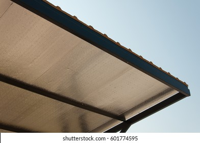 metal sheet insulated roofing and blue sky background.