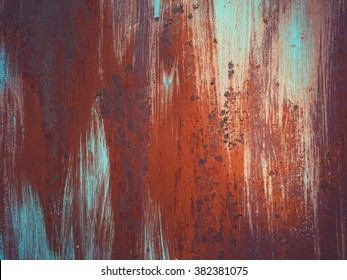 Metal sheet, wall with rust texture with streaks of rust and dirt
