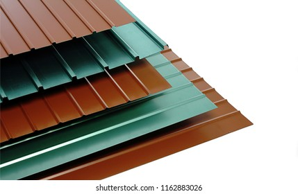 metal sheets profile steel roofing panel construction material isolated with white background metal production stock metallic wave frame blue green and red  galvanized color