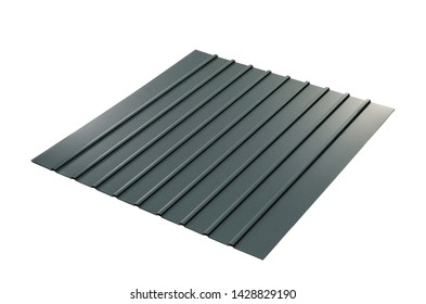 metal sheets profile steel roofing panel construction material isolated with white background metal production stock metallic wave frame natural color  galvanized
