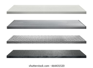 Metal shelves made of steel isolated on white background