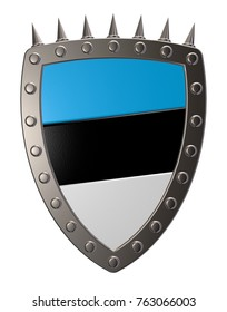 metal shield with estonian colors - 3d illustration