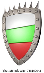 metal shield with flag of bulgaria - 3d illustration