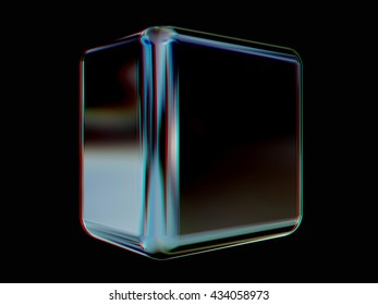 Metal shine cube on a black background. 3D illustration. Anaglyph. View with red/cyan glasses to see in 3D.