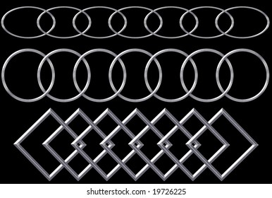 Metal shiny chains of with different link shapes  over black background