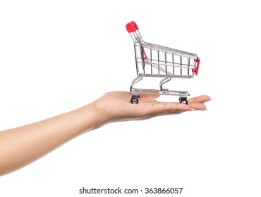 Metal shopping trolleys for shopping in hand Isolated on white background