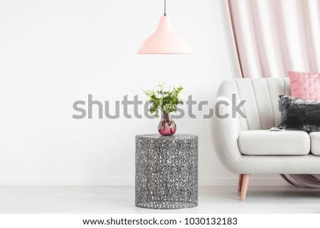 Metal Side Table Bouquet Vase Next Stock Photo Edit Now 1030132183