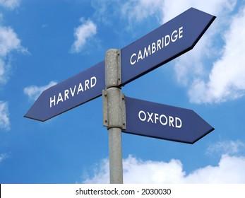 Metal signpost indicating directions of three world famous universities - Harvard / Cambridge / Oxford