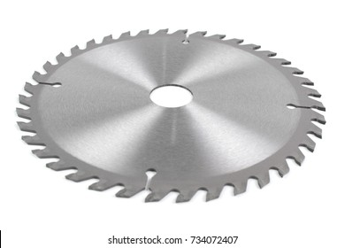 Metal silver Circular Saw Blade for wood work isolated on white background.