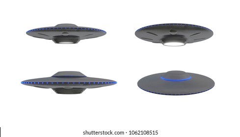 Metal and silver vintage UFO isolated on white background 3D rendering - various angles