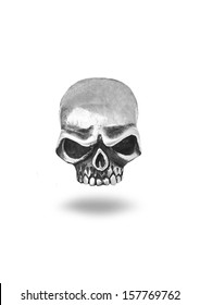 Metal skull on a white background