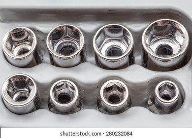 metal sockets is in a plastic socket wrench holder