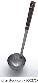 Metal Soup ladle with wooden handle on a white background