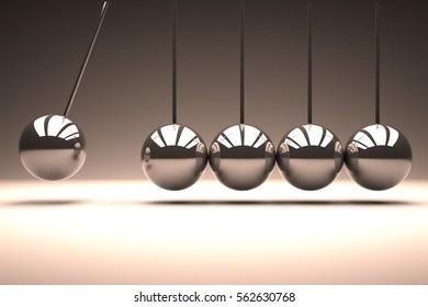 Metal spheres bouncing in line, 3d rendering