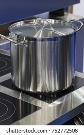 Metal stainless steel pan on a kitchen stove
