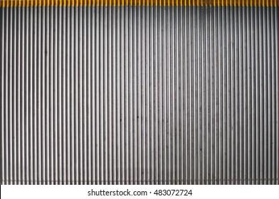 Metal staircase of an escalator