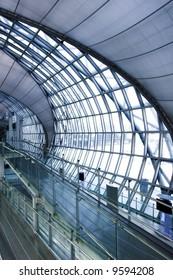 metal stairs and panaramic view of hall