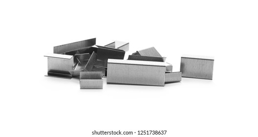 Metal staples for stapler isolated on white background