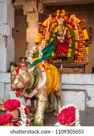 A metal statue of Chamundi, the Hindu Mother-Goddess at a temple in South India.