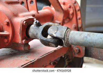 metal steel drive shaft a large size ball bearing support and universal joint with dirty grease
