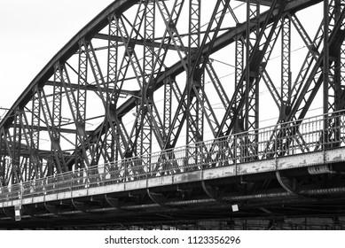 Metal steel industrial rusty train railway bridge detail in Prague, Czechia