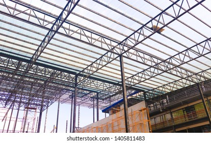 Metal steels and aluminium frame structure for factory and warehouse construction industry
