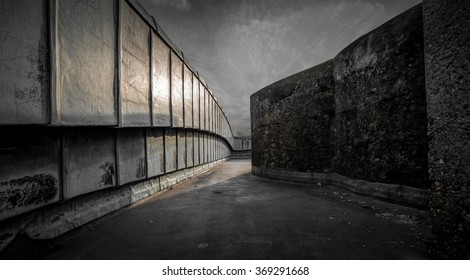 Metal and stone near passage. Monochromatic, perspective scene background.