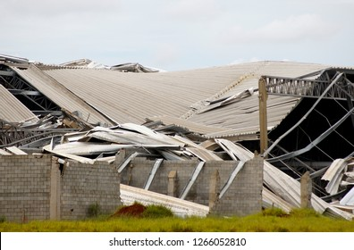 Metal structure destroyed after a storm