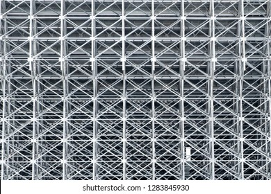 metal structures of the stadium, the reverse side of the stands, engineering structures connected by bolt fasteners