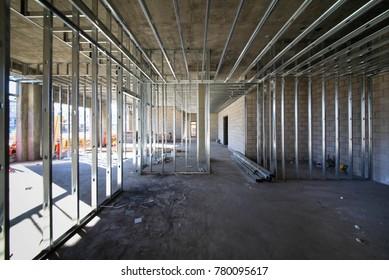 Metal stud framing room under construction