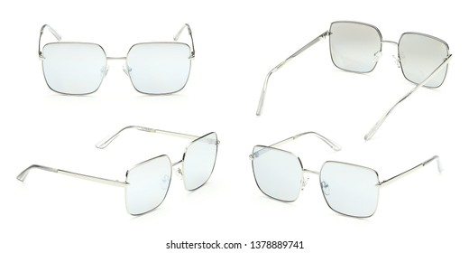 Metal sunglasses with blue Mirror Lens isolated on white background. Fashionable summer eye glasses collection. Set polarizing sunglasses.