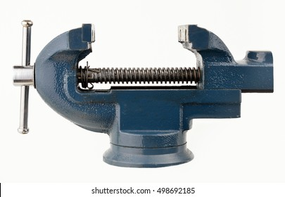 Metal table vise clamp with closed jaws with copyspace isolated on white background