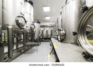 Metal tanks, modern production of alcoholic beverages. Food industry.