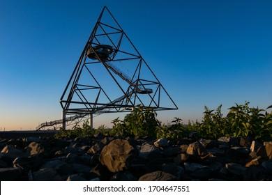 Metal tetrahedron in a park