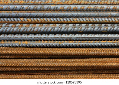 Metal texture pattern of rusty rebars.