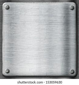 Metal texture template background. Steel plate with hexagon screws.