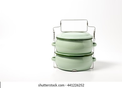 Metal Tiffin, Food Carrier isolated on white