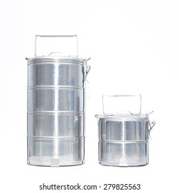 Metal Tiffin, Food Container On White Background